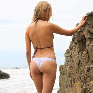 Ruched Scrunch Butt White Bikini Bottom Thong